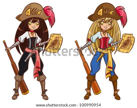 cartoon pirate girl with