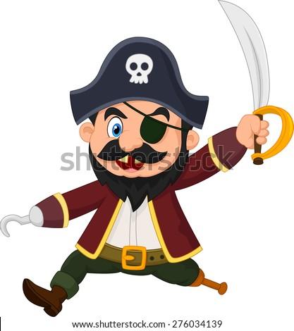cartoon pirate holding dagger