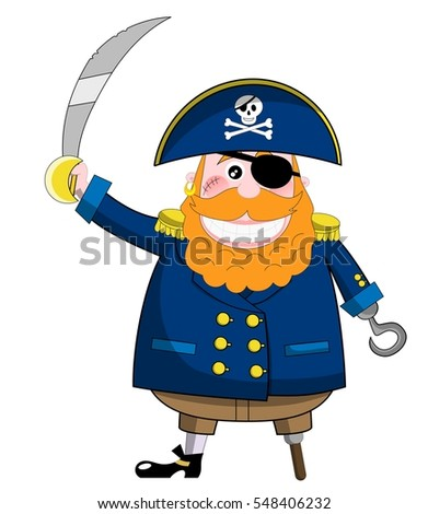 cartoon pirate holding sabre