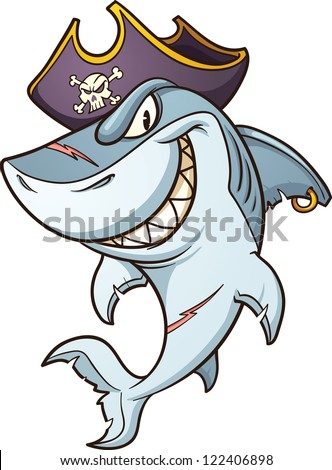 cartoon pirate shark vector
