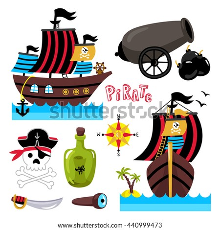 cartoon pirate ship with sails