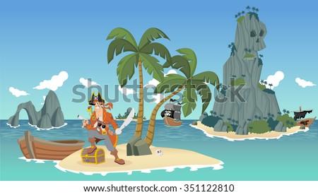 cartoon pirates on a beautiful