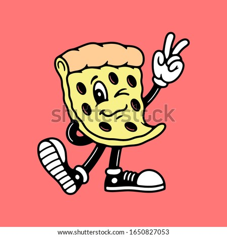 Cartoon pizza making a peace sign with a solid color background