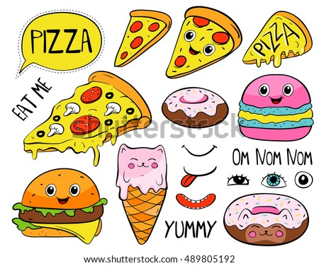 cartoon pizza slice  macaroon