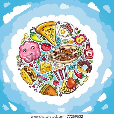 Cartoon planet of delicious and funny food