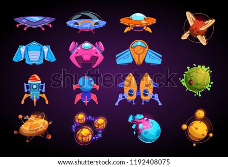 cartoon planets and spaceships