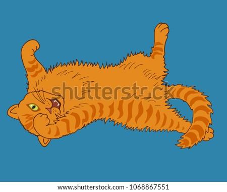 cartoon playful redhead kitten