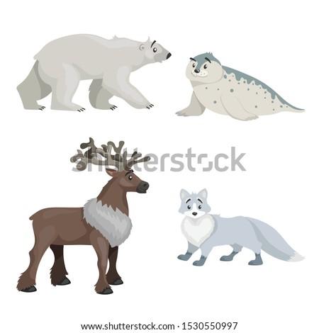 cartoon polar animals set