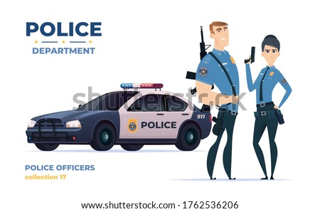 cartoon police officers man and
