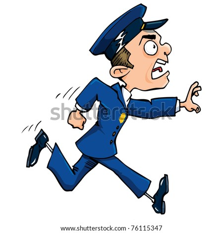 Cartoon policeman running calling out. Isolated on white.