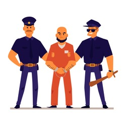 Cartoon policemen holding handcuffed criminal in orange prison uniform - angry male prisoner standing with two police officers. Flat isolated vector illustration.