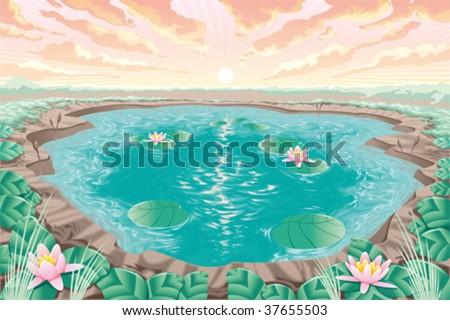 Cartoon pond with lotus