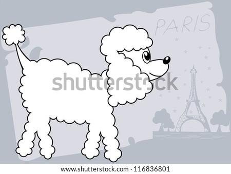 cartoon poodle dog walking