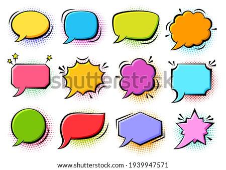 Cartoon pop art bubbles on color halftone background. Retro sketch speech bubble icon set. Vector design fun comic page dialog text message balloon template shapes. Boom, burst, wow effect empty frame