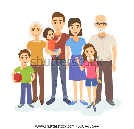 cartoon portrait of big family