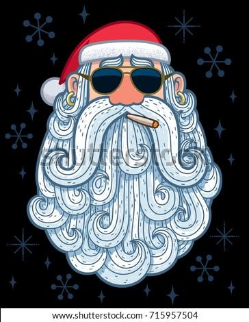 cartoon portrait of cool santa