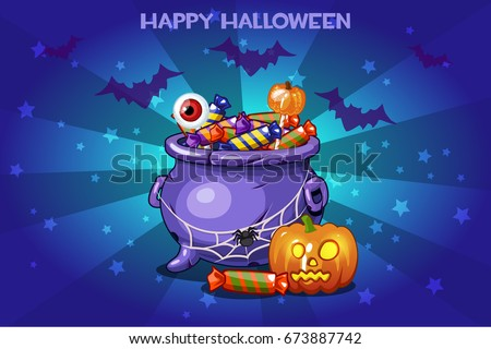 Cartoon pot with candy, set vctor Illustration Happy Halloween