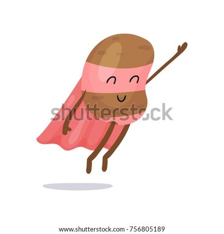 cartoon potato superhero flat