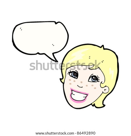 cartoon pretty blond advert woman with speech bubble