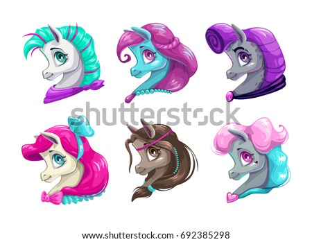 Cartoon pretty horses faces. Cute pony portraits collection. Vector icons on white background.