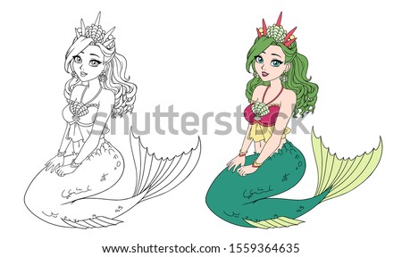 cartoon pretty mermaid with