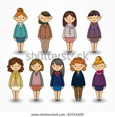 cartoon pretty office woman worker icon set - stock vector
