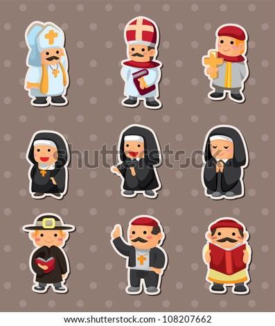 cartoon priest stickers