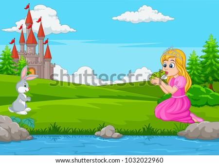 cartoon princess kissing a