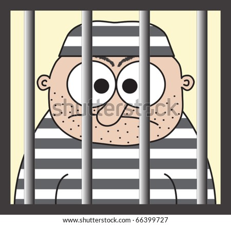 cartoon prisoner behind the