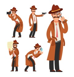 Cartoon private detective. Police inspector vector character set. Police detective and inspector cartoon character illustration