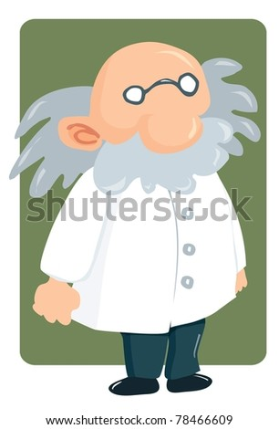 Cartoon professor in lab coat and bushy mustache. Green square behind