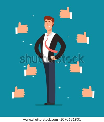 Cartoon proud employee with many thumbs up hands of businessmen. Business recognition vector concept. Illustration of leader character, compliment and achievement, like and accomplishment