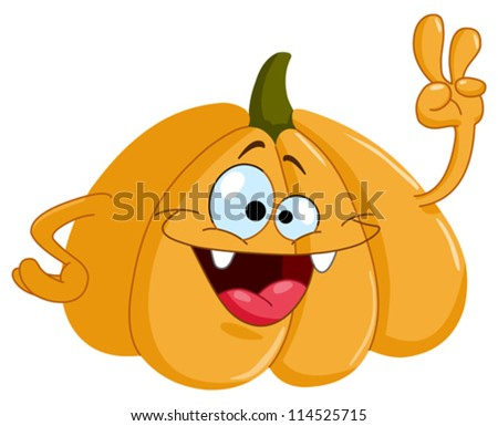 Cartoon pumpkin showing V sign