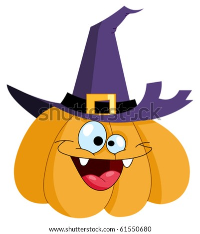 Cartoon pumpkin wearing a witch hat