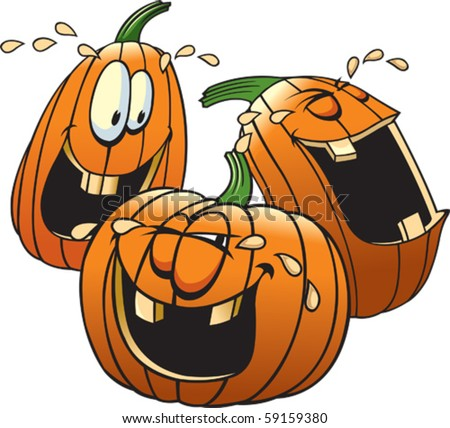 Cartoon Pumpkins having a good time. Layered vector file available. Each pumpkin is complete and on it's own layer.