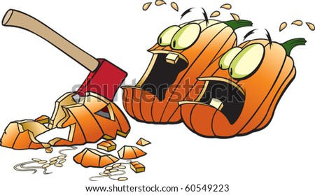 Cartoon Pumpkins scared out of their wits. Layered vector file. Each pumpkin is complete and on it's own layer.