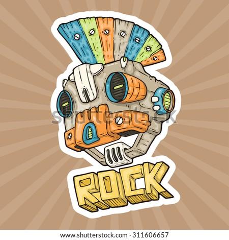 cartoon punk rock music robot
