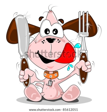 Cartoon puppy dog with knife & fork. Meal time concept.