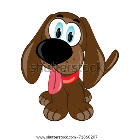 Cartoon puppy. Vector illustration on white background