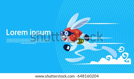 Cartoon Rabbit Sporty Running Banner With Copy Space Flat Vector Illustration