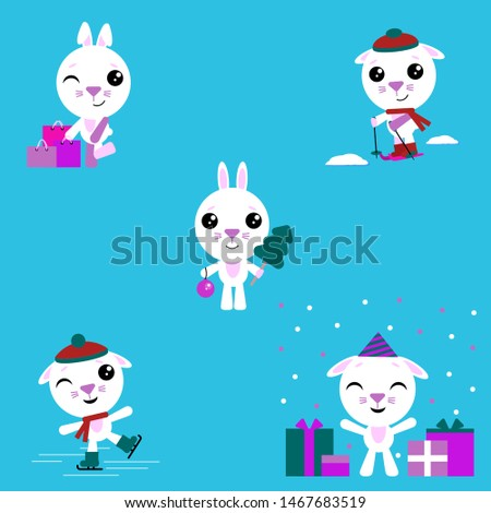 Cartoon rabbit. The set consists of a bunny who skate and ski, makes purchases, celebrates a birthday, celebrates the new year. Vector illustration