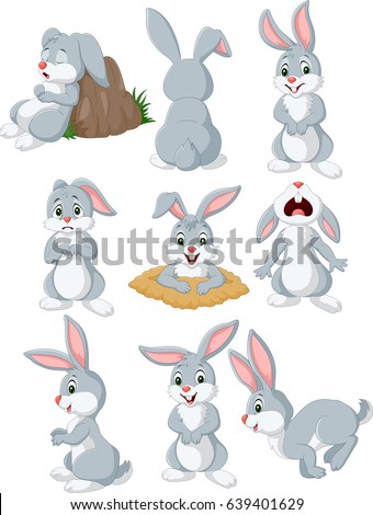 cartoon rabbit with different