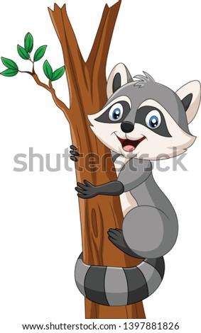 cartoon raccoon climbing on the