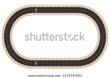 Cartoon racing track for a ring races, top view, vector illustration