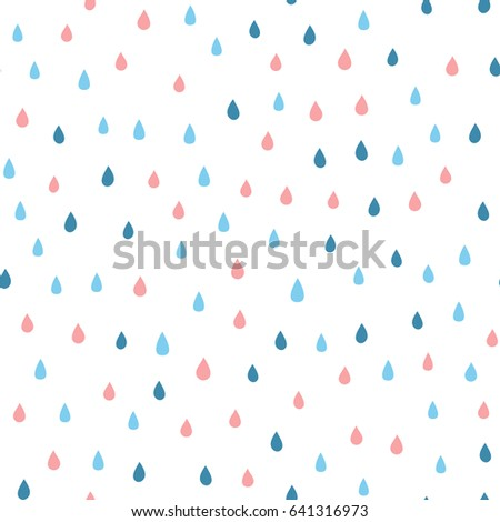 Cartoon rain drops. Seamless pattern with colored raindrops. Vector illustration. White, blue, pink.