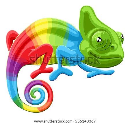 Stock Photo Cartoon rainbow colored multicoloured chameleon lizard character