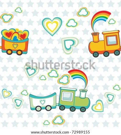 Cartoon rainbow train, happy pattern. - stock vector