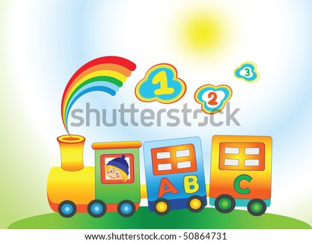 Cartoon rainbow train with letter ABC - stock vector