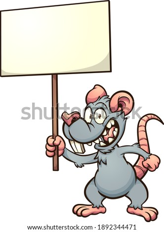 Cartoon rat or mouse holding a blank sign. Vector clip art illustration with simple gradients. Some elements on separate layers.