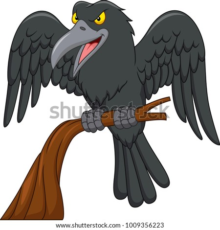 cartoon raven on a tree branch